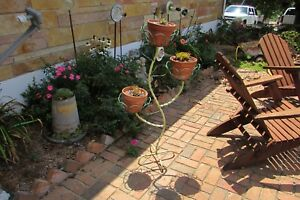 Antique Vintage Twisted Iron Green Flower Pot Stand Planter 2840bp