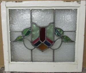 Old English Leaded Stained Glass Window Pretty Shield Leaves 21 75 X 19 25