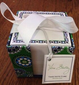 Vera Bradley Take Note Cube 600 Loose Notes Cupcakes Green New In Packaging