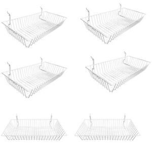 6 Pc White Slatwall Gridwall Pegboard Shallow Basket Display Rack 24x12x4