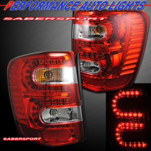 Set Of Pair Red Lens Led Taillights For 1999 2004 Jeep Grand Cherokee
