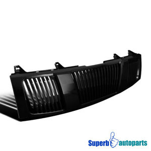 For 04 07 Nissan Titan Armada Abs Vertical Front Hood Grille Glossy Black 1pc