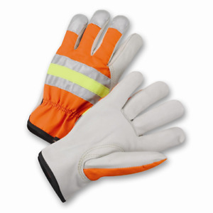 Large High visibility Grain Cowhide Leather Driver Gloves Dozen