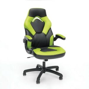 Leather Gaming Chair Racing Style Green Adjustable Rolling Office Desk Swivel