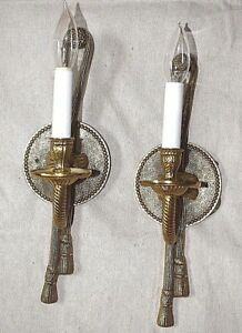Pair Of Rope Tassle Electric Candle Solid Brass Wall Sconces 15 Tall