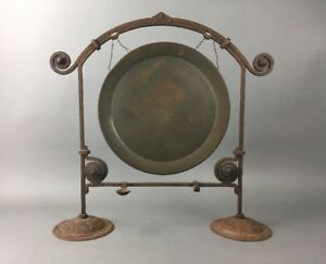 Antique German Arts Crafts Hammered Iron Gong