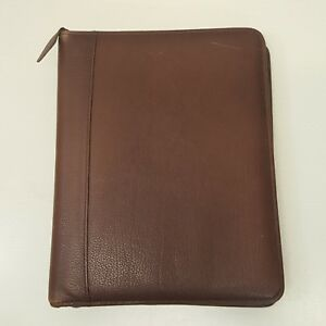Franklin Quest Classic Binder Planner 7 Rings Zip Up Brown Top Grain Leather