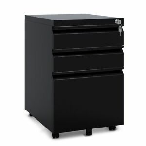Orford Industries 3 drawer Metal Mobile File Cabinet Office Furniture In Black