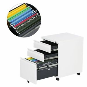 3 drawer Metal Mobile File Filing Cabinet Office Furniture With Lock In White