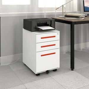 3 drawer Metal Filing Cabinet Mobile Pedestal Lockable Home Office Furniture