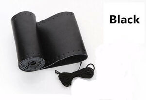 Car Auto Diy Black Genuine Leather Steering Wheel Cover Wrap Sew On Kit 38cm