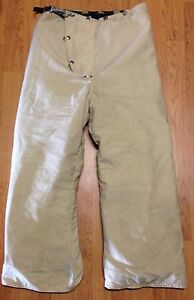 Vintage White 1983 Janesville Firefighter Bunker Turnout Pants W Susp 32 X 28