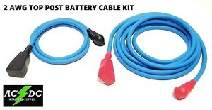Battery Relocation Kit 2 Awg Welding Cable Top Post 16 Blue 4 Blue W Boots
