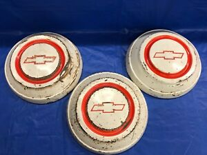 Three 3 Vintage 1967 68 Chevrolet Truck Dog Dish Hubcaps Rat Rod Or Restore