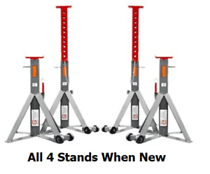 Set Of Four Gray 10 Th 20 Ton Per Pair Jack Stands Vehicle Support Stand