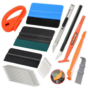 Vehicle Vinly Wrap Tool Felt Squeegee Knife Blades Window Tint Tool Kit Us