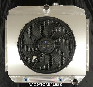 3 Row Aluminum Radiator W Shroud 16 Fan 55 56 Chevy Bel Air 6cyl Core Sup