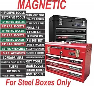Magnetic Tool Box Labels Tool Chest Drawer Organizer Color Coded Easy Read Shop