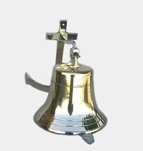 Solid Brass Ship S Bell 8 W Anchor Bracket Nautical Hanging Wall Decor New