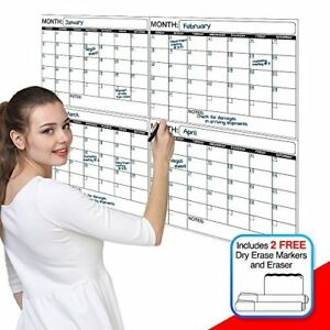Jumbo Laminated Dry Erase Or Wet Erase 4 Month Quarterly Wall Calendar