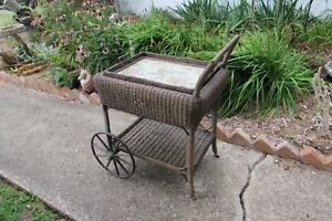 Antique Vintage Reed Wicker Tea Beverage Cart With Removable Tray 1760b