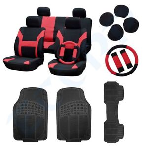 3pcs Floor Mats And Black Red Car Seat Covers W Belt Pads Steering Wheel Cover