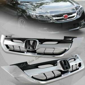 For 2013 2015 Honda Accord 4dr Sedan Chrome Abs Front Hood Modul Grille Grill