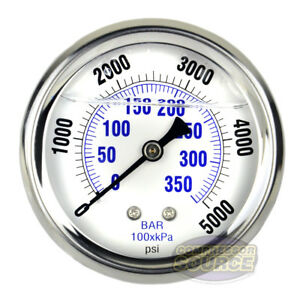 Liquid Filled 5000 Psi Air Pressure Gauge W 2 5 Face Back Mount 1 4 Npt