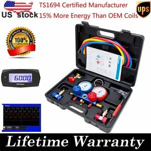 Ac Manifold Gauge Set R134a R22 Hvac A C Refrigeration Auto Kit 5ft Colored Hose