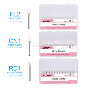 Dental White Polishing Stones Flame Cone Shape Fg Burs Arkansas Stone Fl2