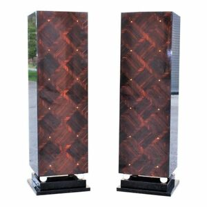 Monumental Pair Of French Art Deco Exotic Macassar Ebony Pedestals M O P Accents