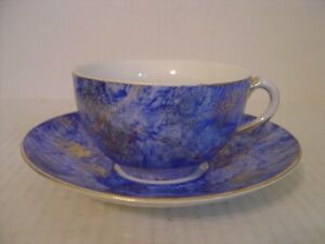 Vintage Hand Painted Large Blue And Gold Mustache Cup And Saucer