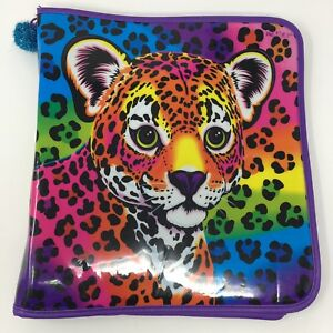 Lisa Frank 90s Vintage 3 Three Ring Zipper Leopard Cat Binder Folder Notebook