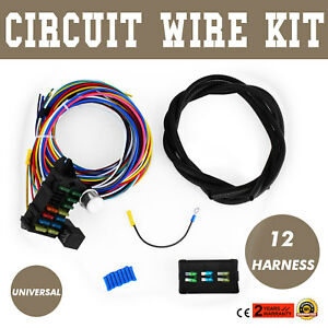 Universal 12 Circuit Wire Harness Muscle Fusible Link Circuits Bumper Wire Kit