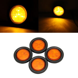 4pcs 2 5 Round 4 Led Light Truck Trailer Side Marker Clearance Lamp Amber