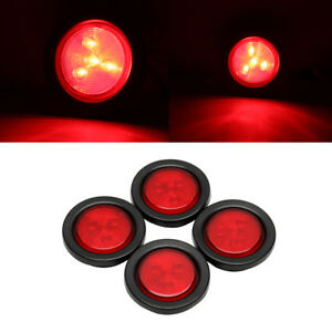 4pcs 2 5 Round 4 Led Light Truck Trailer Side Marker Clearance Lamp Red
