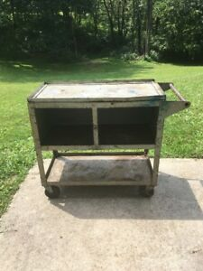 Vintage Industrial Factory Kitchen Cart Heavy Duty Good Find Steampunk