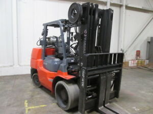 2013 Toyota 7fgcu70 15 000lb Rigger Style Forklift Lpg Low Hour Tall Lift