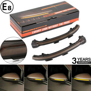Smoke Side Turn Signal Lights Mirror Sequential Blink For 15 up Vw Mk7 Golf Gti