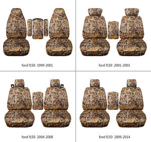 Fits Ford F150 1999 2014 Car Seat Covers Camo Wetland Fr Bucket Seats Lid Cover