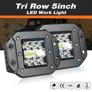 Tri Row 5 Inch 130w Led Work Light Bar Spot Offroad 4wd Suv Driving Flush Mount