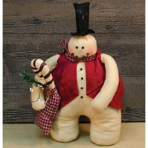 Primitive Archie Snowman Doll Country Fabric Winter Christmas Folk Art Holiday