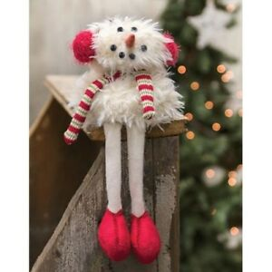 Primitive Sitting Furry Snowman Doll Long Legs Country Winter Christmas Holiday