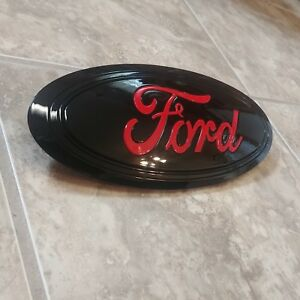 2015 17 Ford F150 Grill Emblem All Gloss Black And Race Red Ford Script