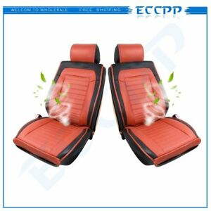2xbrown Pu Leather Cold Seat Cushion Cooling Car Chair Cushion For Saturn