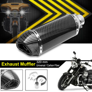 38 51mm Universal Motorcycle Carbon Exhaust Muffler Pipe Dirt Removable Silencer