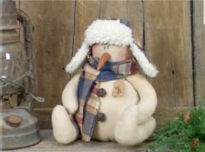 Primitive Earl Winter Snowman Doll Country Farmhouse Christmas Holiday