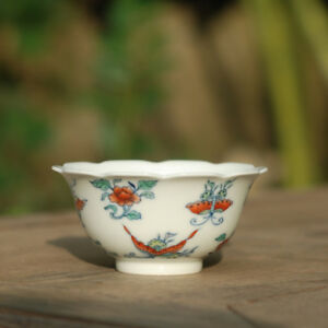 China Old Porcelain Doucai Hand Painting Butterfly Flower Fancy Top Bowl