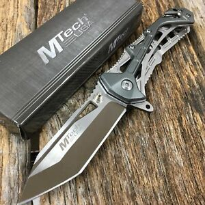 Spring-Assist Folding Knife  Mtech Gray Tactical Minimalist Slim Rescue Tanto