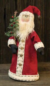 Primitive Santa Long Coat Christmas Tree Doll Country Farmhouse Rustic Winter